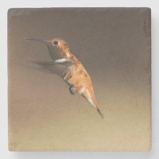 Rufous Hummingbird in flight Stone Coaster