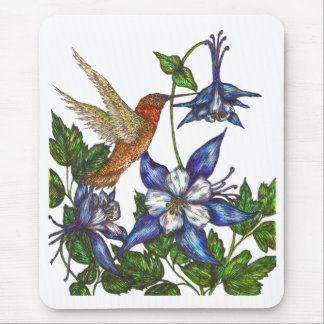 Rufous Hummingbird with Columbine Mouse Pad