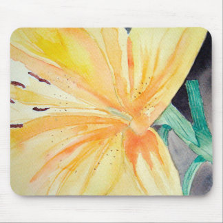 Rug mouse of yellow iris in watercolor mouse pad