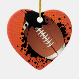 Rugby Ball on Rays Background Ceramic Heart Decoration