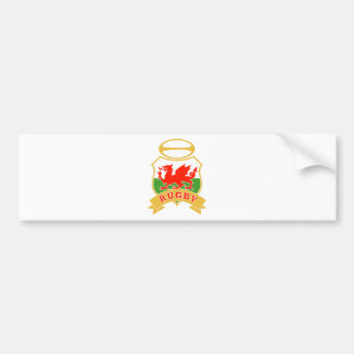 rugby ball wales red welsh dragon shield bumper stickers