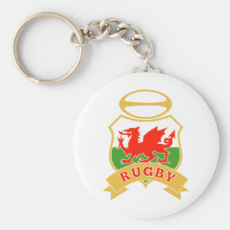 rugby ball wales red welsh dragon shield key ring