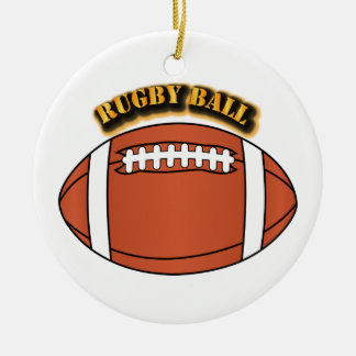 Rugby Ball with Text Ceramic Ornament