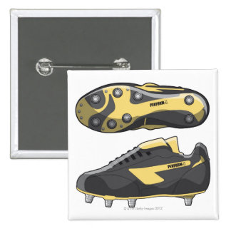 Rugby boots pinback button