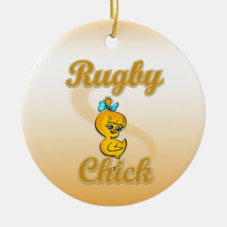 Rugby Chick Ceramic Ornament