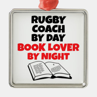 Rugby Coach Book Lover Silver-Colored Square Decoration