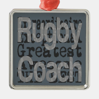 Rugby Coach Extraordinaire Silver-Colored Square Decoration