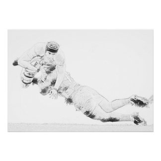 Rugby Dive Tackle Drawing - Poster