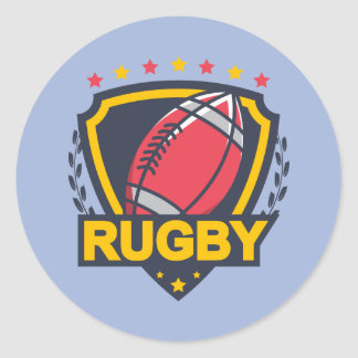 Rugby Emblem in Dark Blue Red and Gold Classic Round Sticker