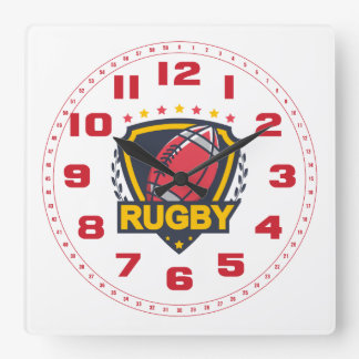 Rugby Emblem in Dark Blue Red and Gold Square Wall Clock