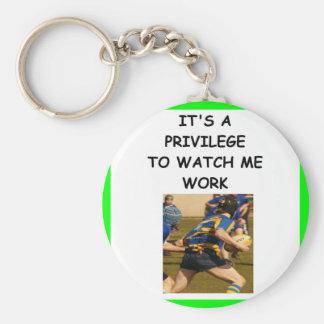 rugby basic round button keychain