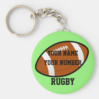 Rugby Keychain ID Tag YOUR NAME & Number