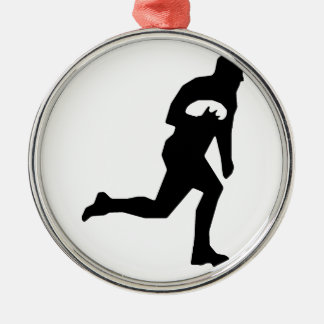 Rugby League Player Silver-Colored Round Decoration