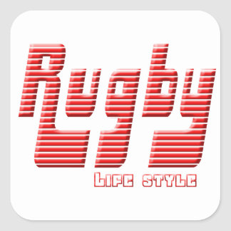 Rugby life style square sticker