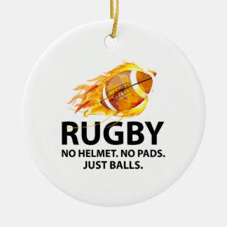 Rugby. No Helmet. No Pads. Just Balls. Round Ceramic Decoration
