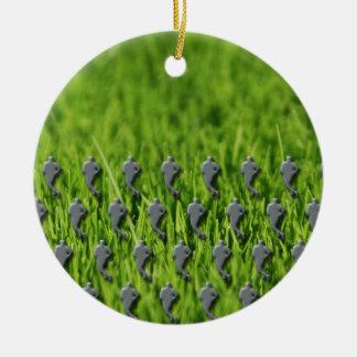 rugby on grass round ceramic decoration