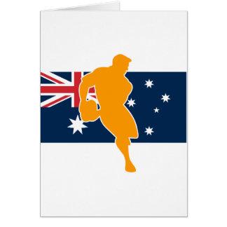 rugby player flag australia card