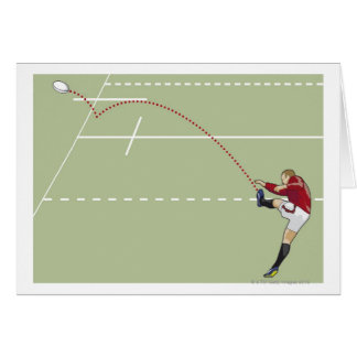 Rugby player kicking ball into touch, dotted card