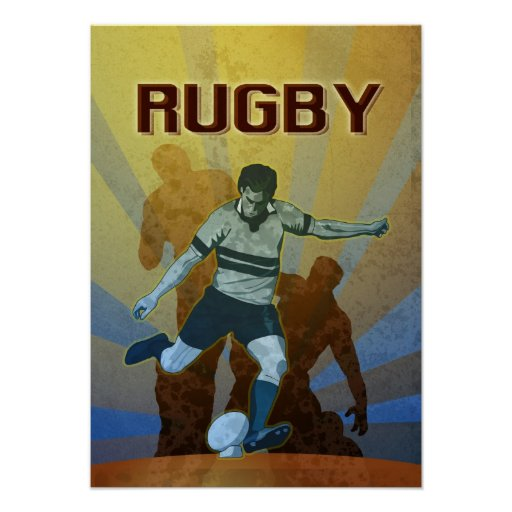 rugby player kicking the ball posters