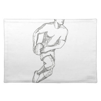 Rugby Player Passing Ball Doodle Art Placemat