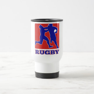 Rugby player tackle fending off travel mug