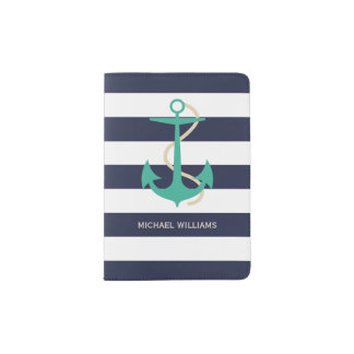 Rugby Stripes with Nautical Anchor and Your Name Passport Holder