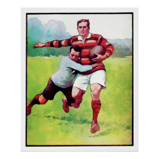 Rugby Tackle - Watercolour Poster