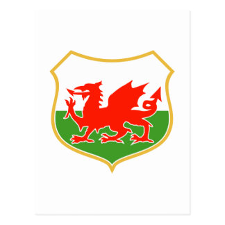 rugby wales red welsh dragon sports mascot post cards