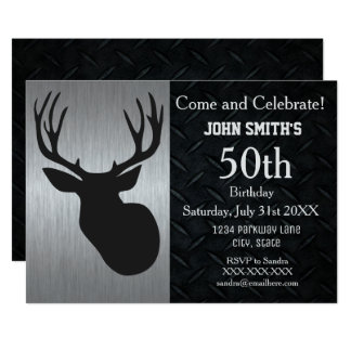 Rugged Adult Deer Hunting Birthday Invitations