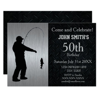Rugged Adult Fishing Birthday Invitation