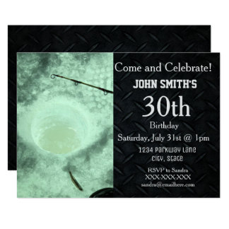 Rugged Adult Ice Fishing Men Birthday Invitations