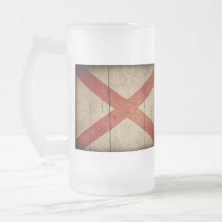 Rugged Alabama Flag Frosted Glass Mug