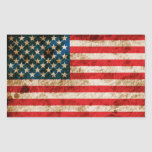 Rugged American Flag Rectangle Stickers