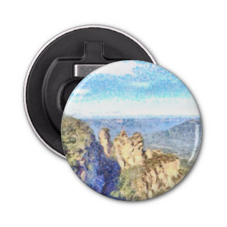 Rugged and beautiful mountains bottle opener