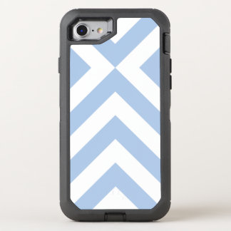 Rugged and Stylish Light Blue and White Chevrons OtterBox Defender iPhone 7 Case