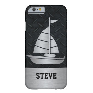 Rugged Black Diamond Plate Silver Sailboat Name Barely There iPhone 6 Case