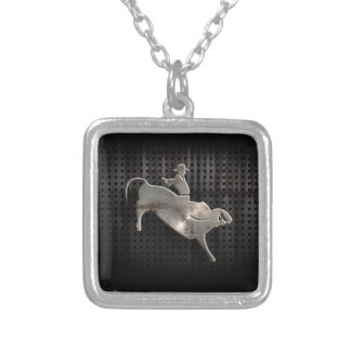 Rugged Bull Rider Square Pendant Necklace