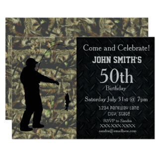 Rugged Camo Adult Fishing Birthday Invitation