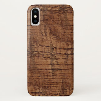 Rugged Chestnut Oak Wood Grain Look iPhone X Case