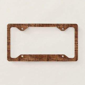 Rugged Chestnut Oak Wood Grain Look Licence Plate Frame