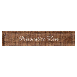 Rugged Chestnut Oak Wood Grain Look Name Plate