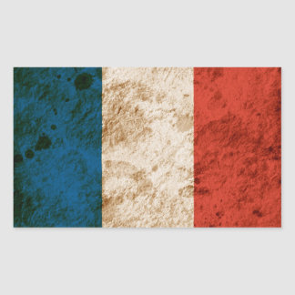 Rugged French Flag Rectangular Sticker