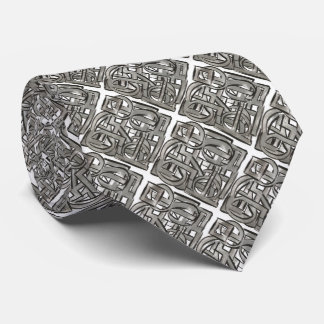 Rugged Gray-Hand Painted Abstract Geometric Tie