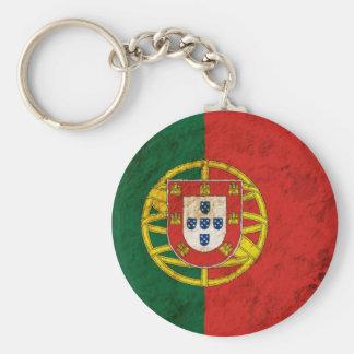 Rugged Portuguese Flag Basic Round Button Key Ring