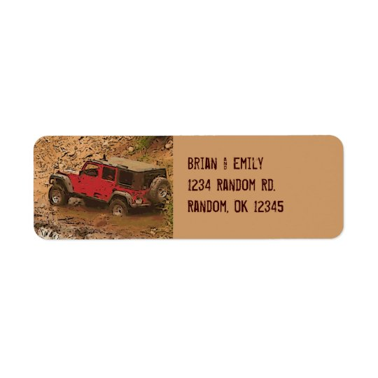 Rugged red muddy jeep wrangler custom labels