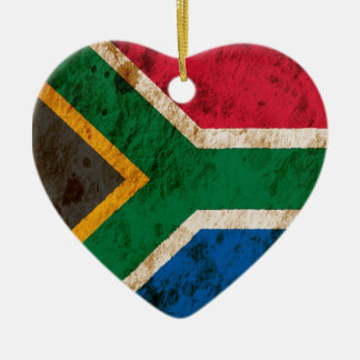 Rugged South African Flag Ceramic Ornament