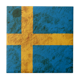 Rugged Swedish Flag Small Square Tile