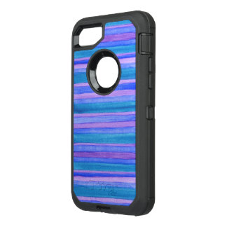 Rugged Teal, Blue, Purple Painted Stripes OtterBox Defender iPhone 7 Case