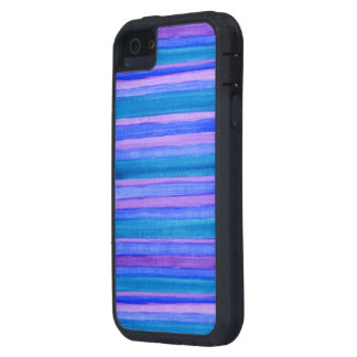 Rugged Turquoise, Blue, Violet Painted Stripes iPhone 5 Covers