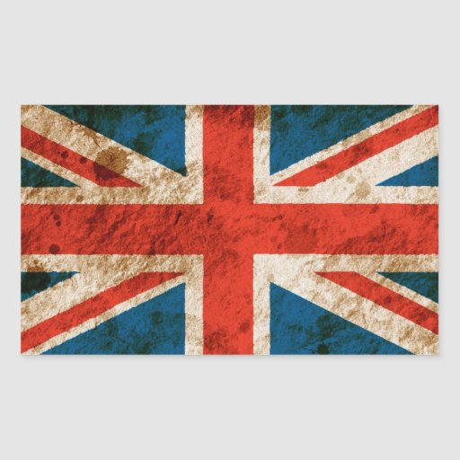 Rugged Union Jack Rectangle Stickers